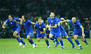 ITALY FOOTBALL SOCCER WORLD CHAMPIONS... For only the second time in World Cup history, the final was settled on a penalty shootout. Fabio Grosso, the goal hero in the semifinal against Germany, scored the winning penalty for four-time champions Italy... Materazzi had been busy at both ends of the field. The Italian defender conceded a penalty and scored a goal in the first half to even the match against France at 1-1 in the World Cup final